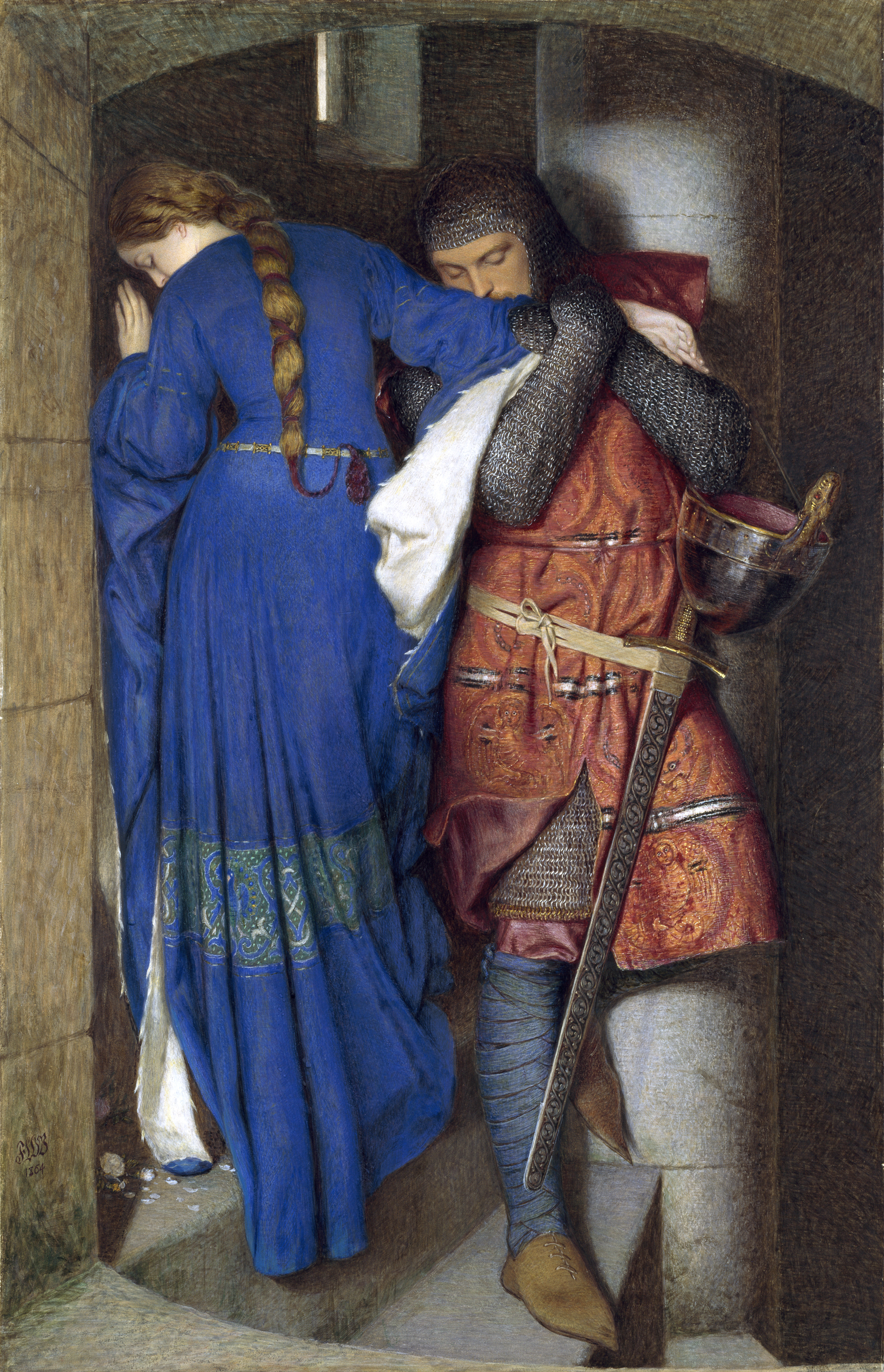 Image result for the meeting on the turret stairs by sir frederic william burton, 1864