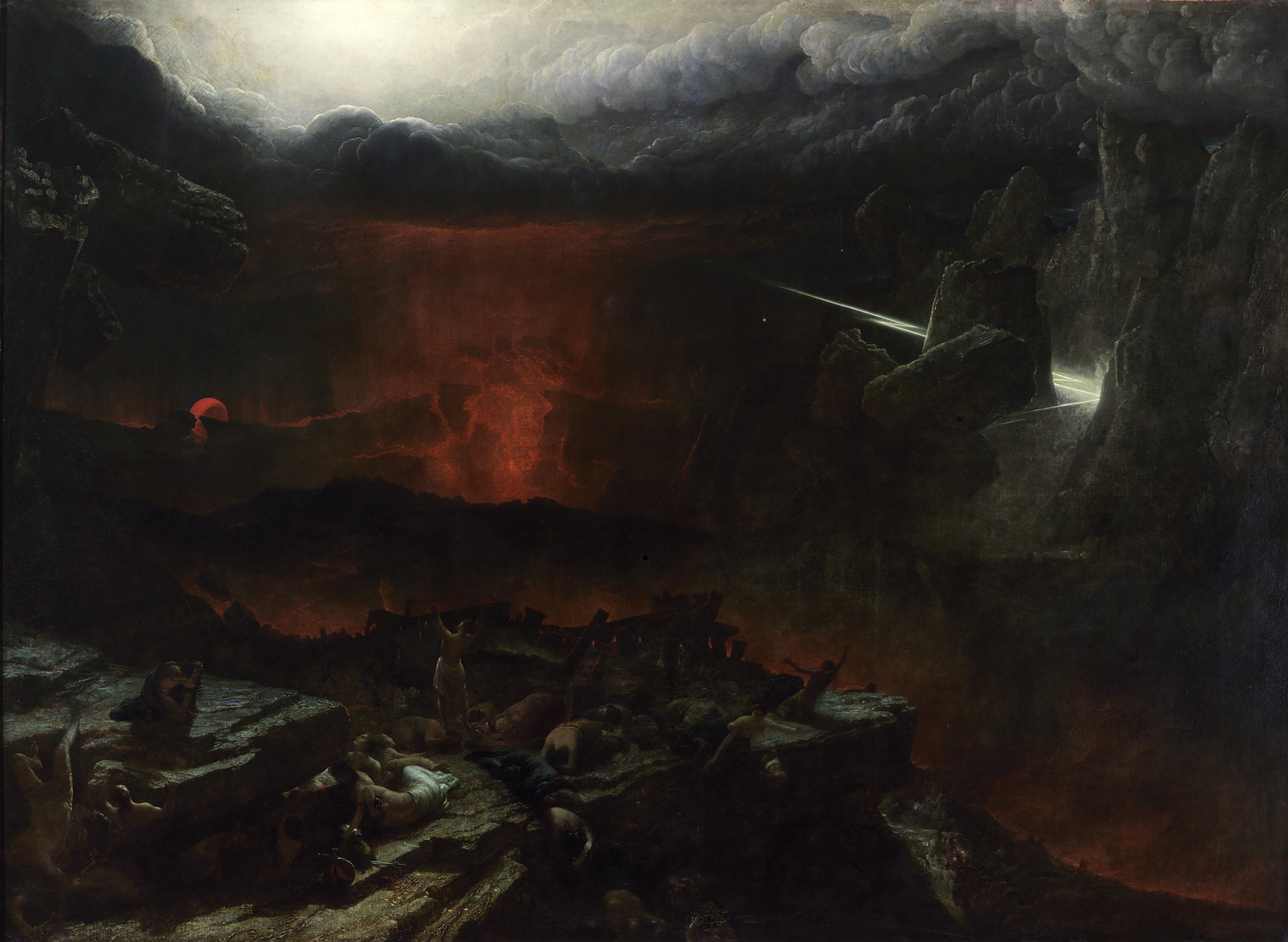 Dramatic oil painting of an apocalyptic landscape with lightening striking and lava flowing