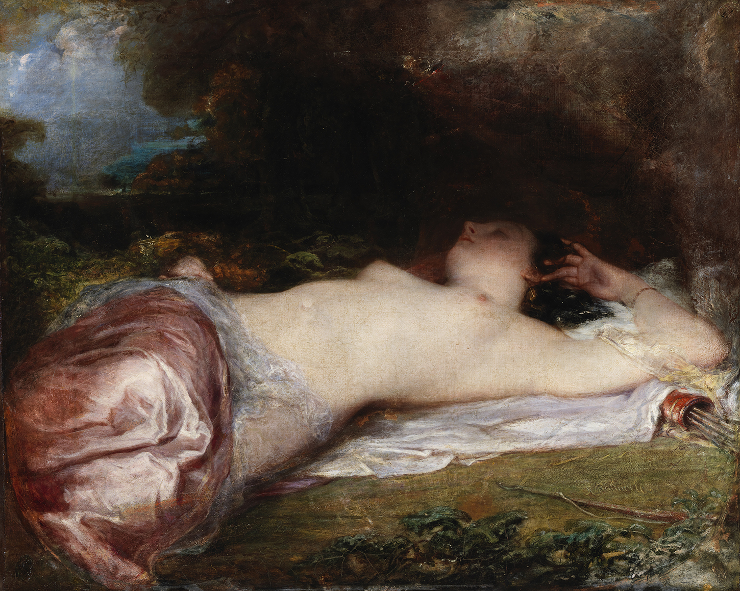 An oil painting of a female figure reclining on grass. Her arm is stretched behind her head, and she is half-covered by silken fabric. Under her, a sheaf of arrows.