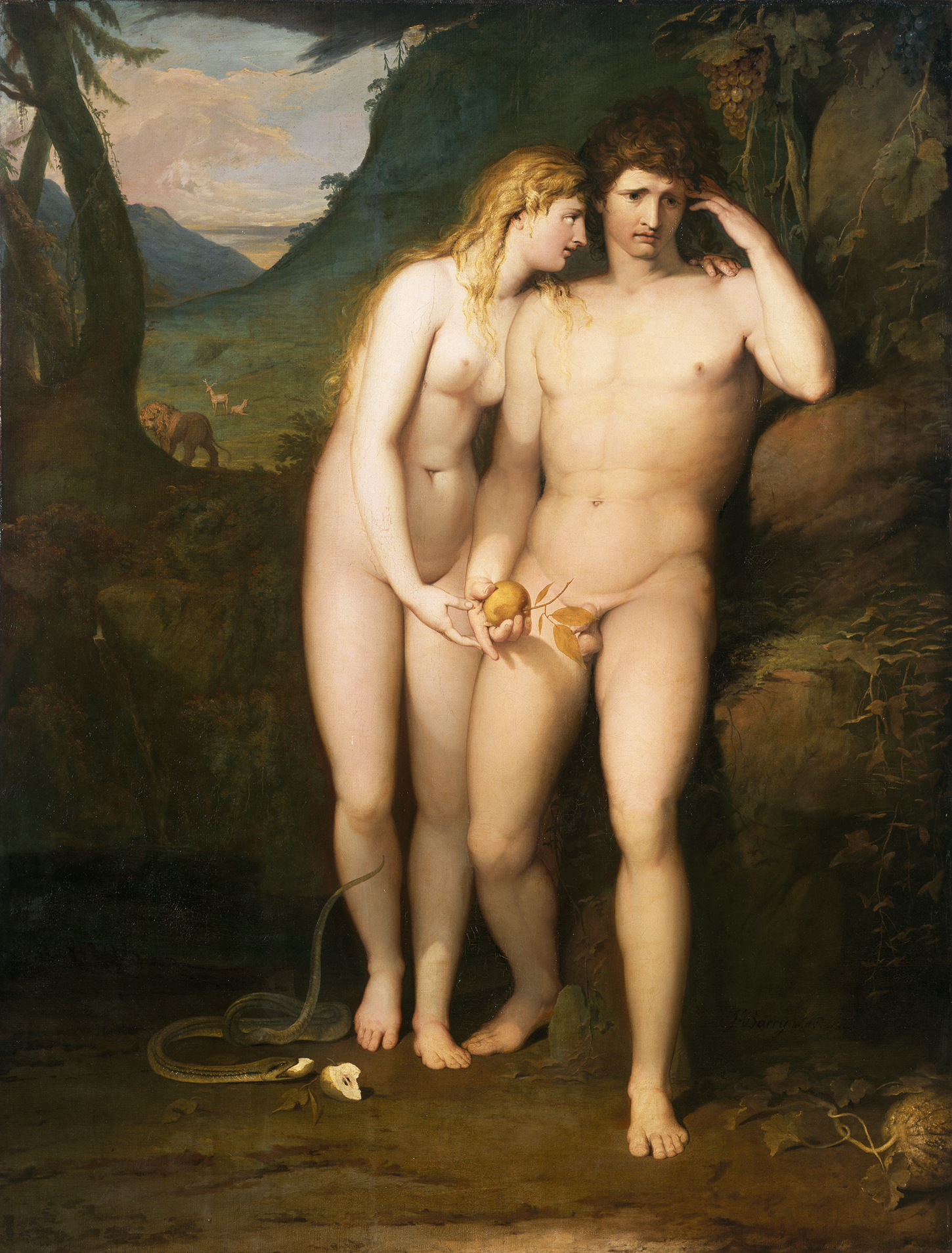 Adam and Eve stand together. On the ground, a snake, and a discarded half-eaten apple.