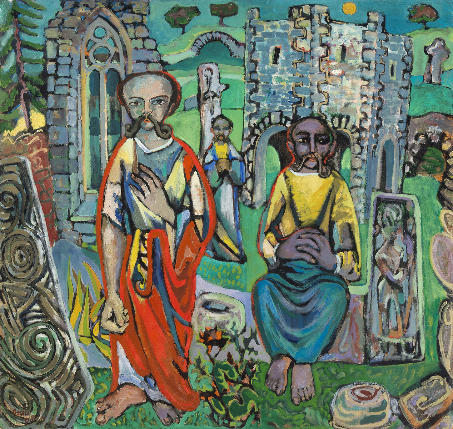An oil painting showing three figures, two standing and one sitting. They are within the ruins of an abbey, and there is Celtic iconography on some of the stones around them.