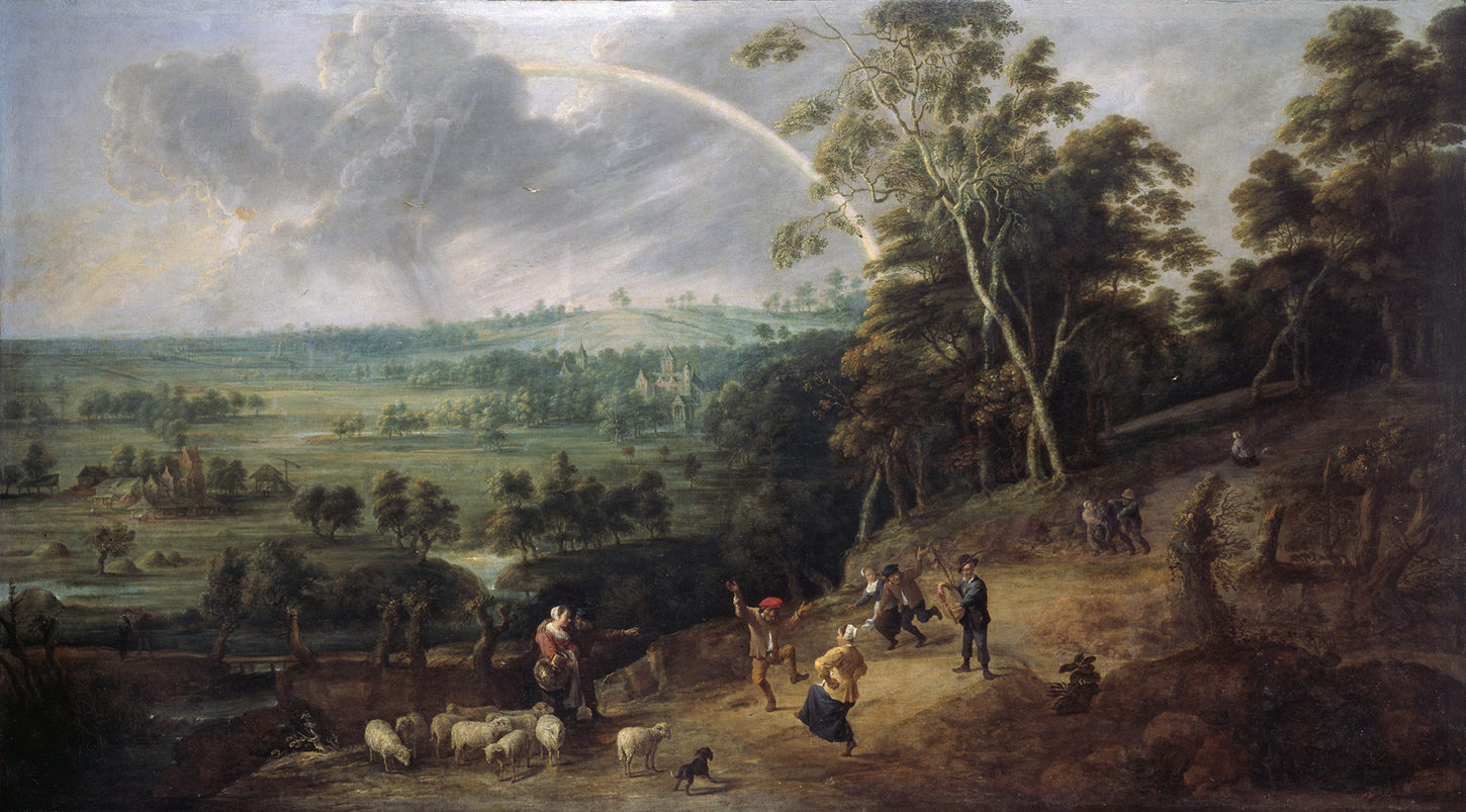 A country scene, with a picturesque landscape in the background as people dance in the foreground