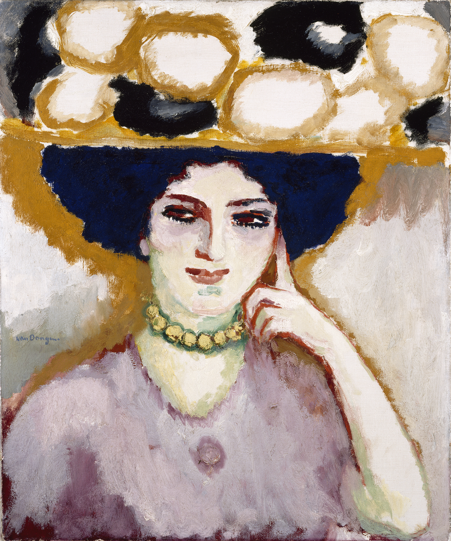 A woman wears a hat with black and white flowers. She wears a mauve dress, with a string of pearls around her neck.