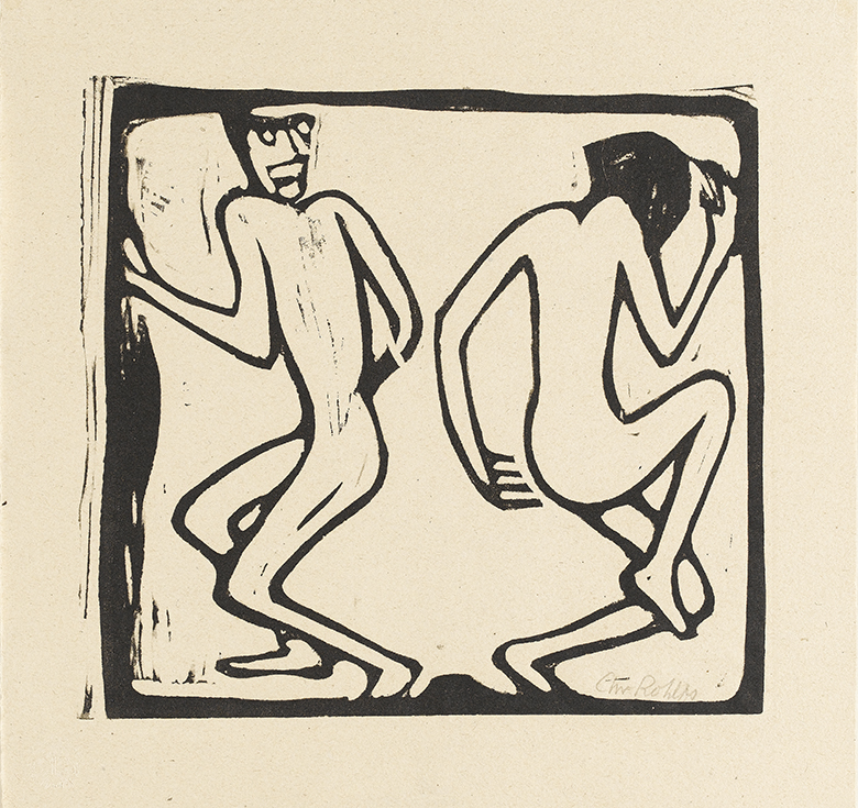 Stylised black and white print of two figures dancing
