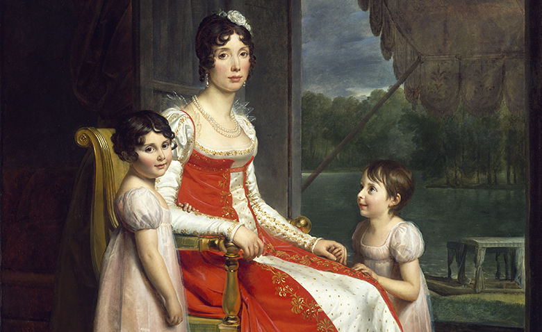 Detail from a portrait of Julie Bonaparte with her daughters Zénaïde and Charlotte.