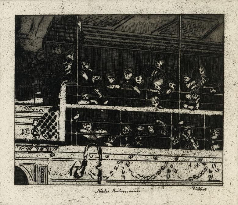 Black and white etching of people in the gallery of a theatre looking down.