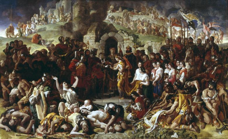 Dramatic oil painting crowded with people, with a man in armour and a woman at centre being married by a priest.