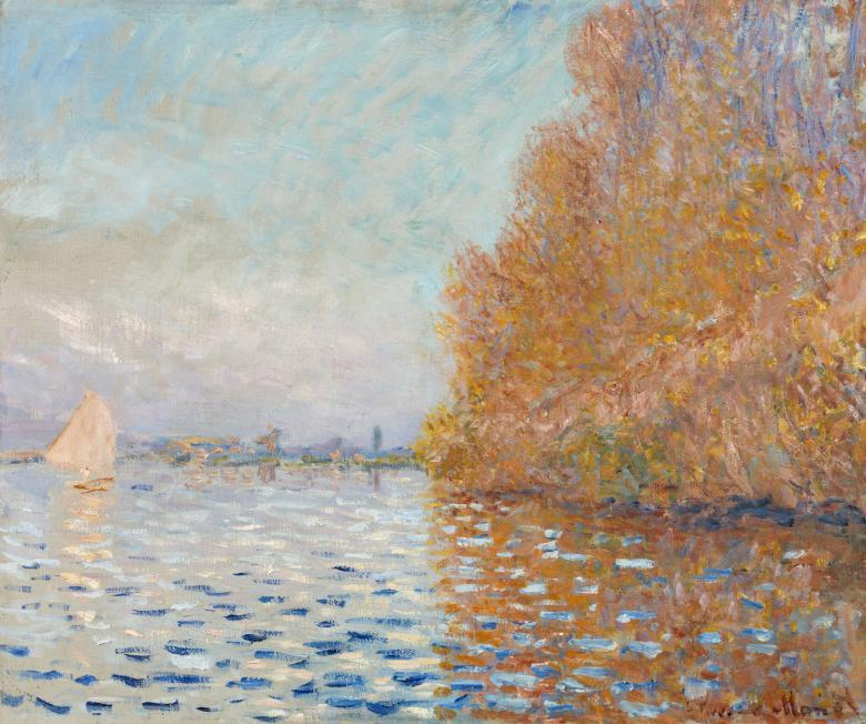 Impressionistic landscape painting of a a river, trees on the riverbank, buildings on the horizon and a white sailboat.