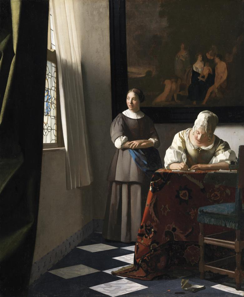 Oil painting of a woman writing a letter at a table with a maid standing beside her