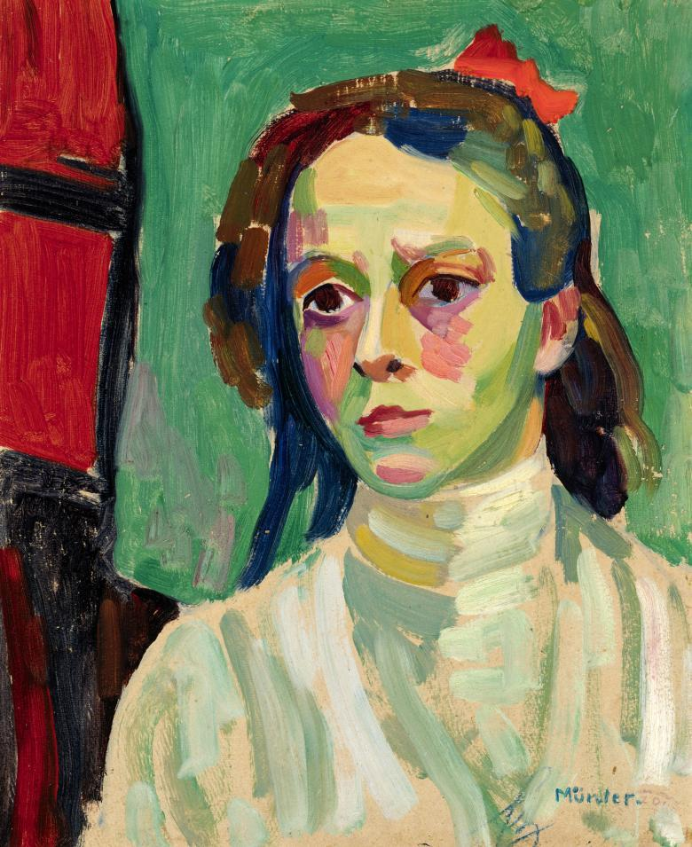Gabriele Münter (1877-1962), 'Girl with a Red Ribbon', 1908. © National Gallery of Ireland.