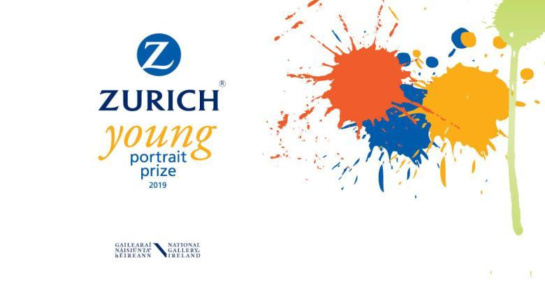 The logo for the Zurich Young Portrait Prize 2019; splashes of colourful paint, and text saying Zurich Young Portrait Prize