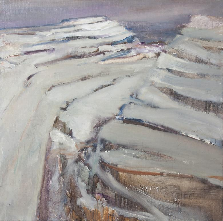 An oil painting showing a detail of Mullaghmore, a 180 metre high limestone rock in the Burren in County Clare, showing the steps of bare, folded rock.