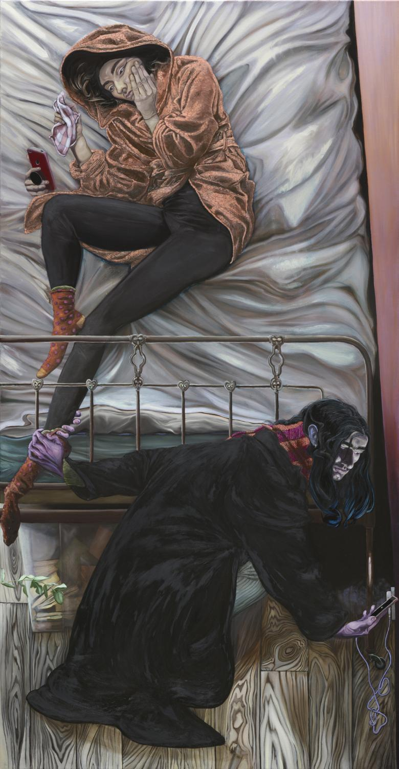 figure dressed in an orange hooded dressing gown and black leggings lies on a bed. One hand is to their face, and one holds a checkered piece of material. A third hand is holding a phone, at which they are gazing. At the foot of the bed is a second figure, dressed in black with a striped scar around their neck. Their hand is grasping the ankle of the figure in the bed, with the fingers wrapped all the way around. They are looking down at a phone in their other hand, which slightly illuminates their face
