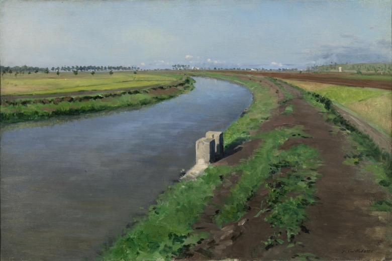 Oil painting of a canal sweeping to the left foreground, with a brown, muddy tow path to the right and hazy buildings on the horizon.