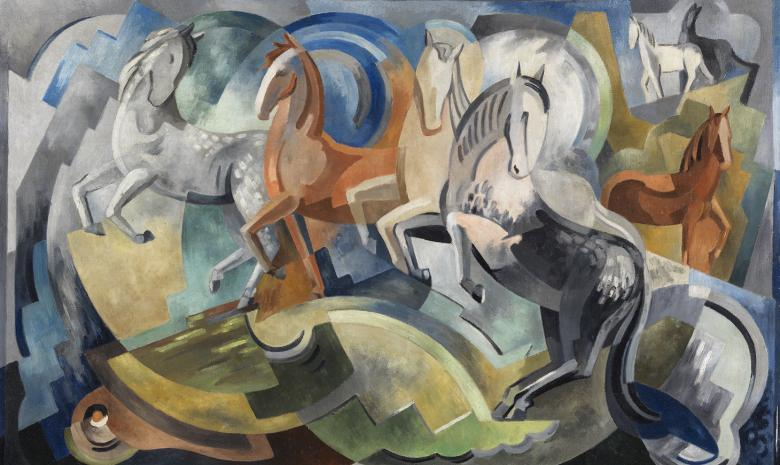 An oil painting showing horses in motion