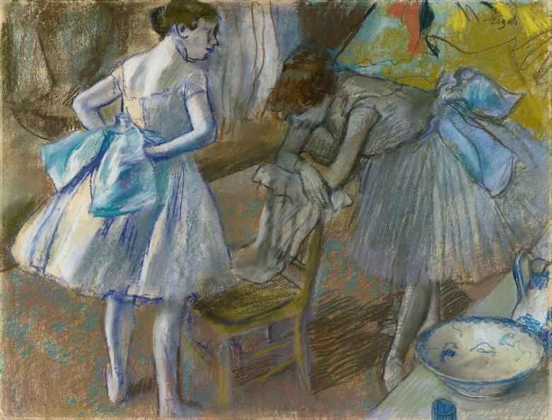 Pastel drawing of two dancers