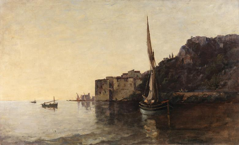 A painted view of a harbour with a sailboat in the foreground and a cliff to the right.