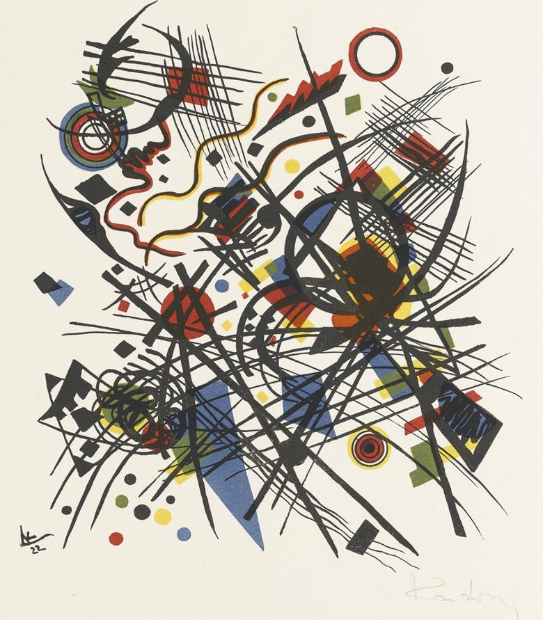 An abstract composition by Wassily Kandinsky entitled Composition, dating to 1922. Image: Courtesy of Staatsgalerie Stuttgart, Graphische Sammlung. Photo: © Staatsgalerie Stuttgart
