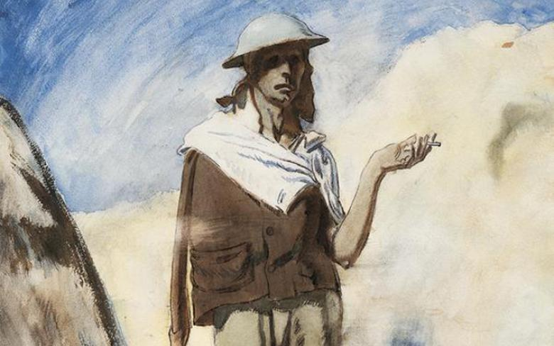 William Orpen (1878-1931), 'Man with a Cigarette', 1917 - detail. Photo © Imperial War Museum.