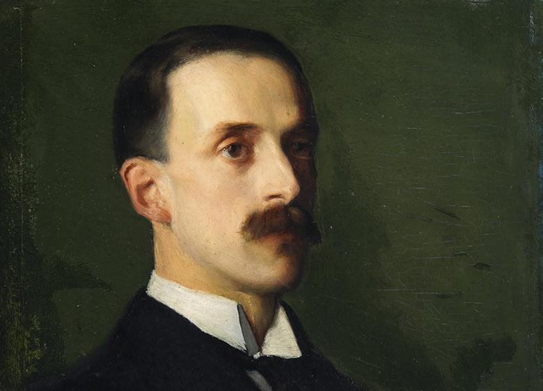 A head and shoulders painted portrait of Hugh Lane against a green background.
