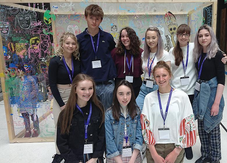 Photo of a group of teenage work placement student in the National Gallery of Ireland.
