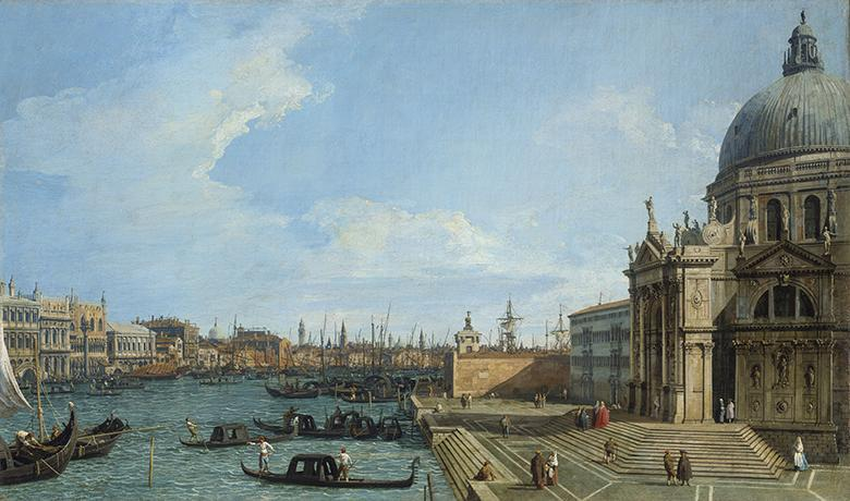 Canaletto (1697-1768), 'The Grand Canal with Santa Maria della Salute', c.1729-30, c.1733. Royal Collection Trust/© Her Majesty Queen Elizabeth II 2018