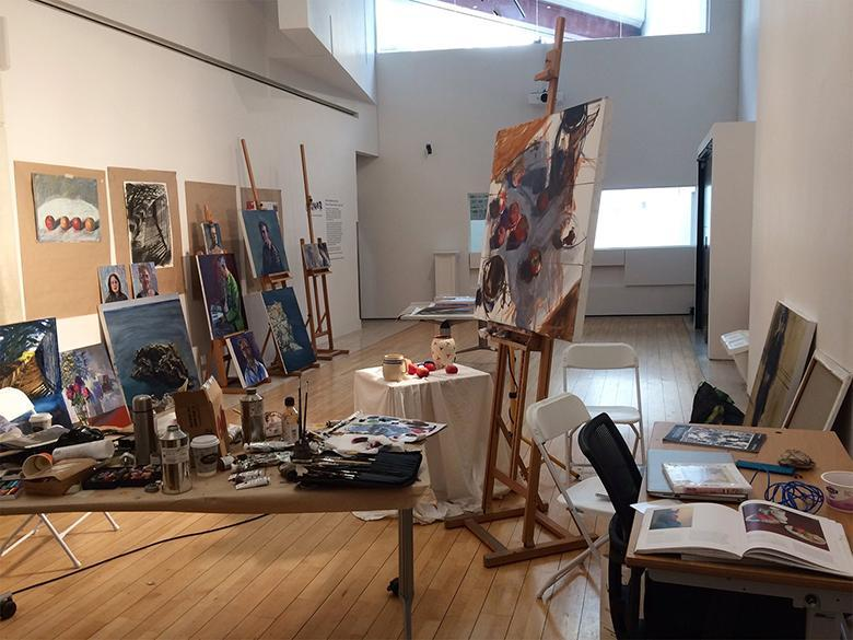 A view of Una Sealy's artist-in-residence studio space in the National Gallery of Ireland.