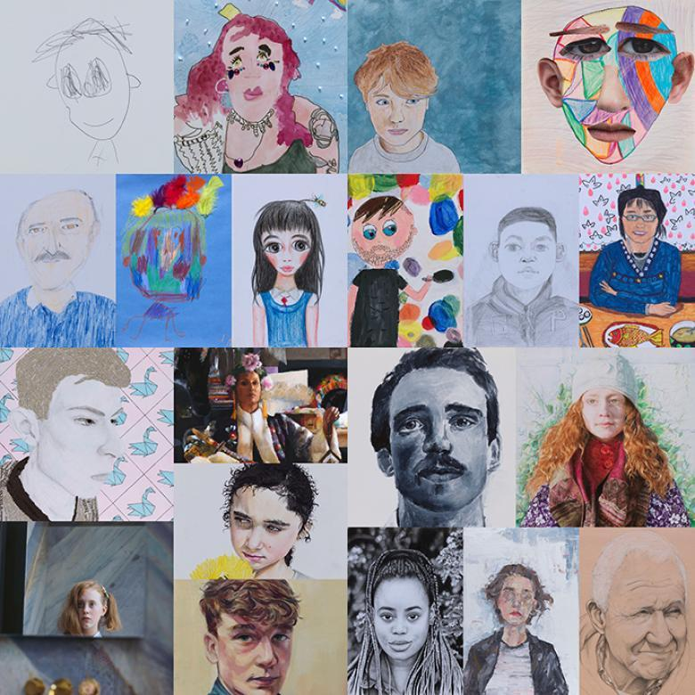 A photo collage of 20 portraits made by young people aged 4 to 17 years.