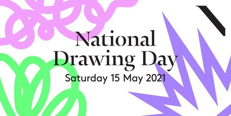 National Drawing Day logo featuring pink and green squiggle lines and a purple starburst line. Text says National Drawing Day Saturday 15 May 2021