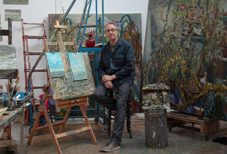 Self-portrait photo of Nick Miller in his studio