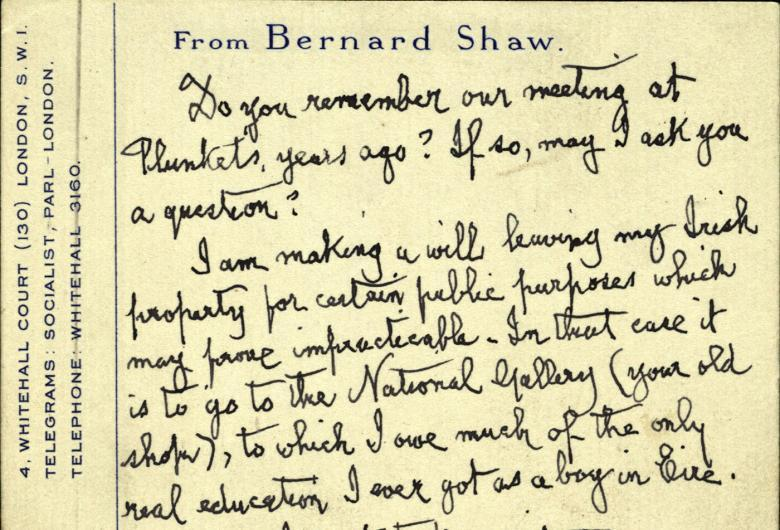 Detail of a handwritten postcard from G.B. Shaw to Thomas Bodkin