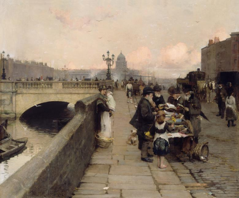 An oil painting of a city scene. On the quays, a stall is selling books, with people gathered around looking. A woman stands by the wall, holding a child. In the background there's a bridge, and buildings silhouetted on the pink-grey sky of dusk.