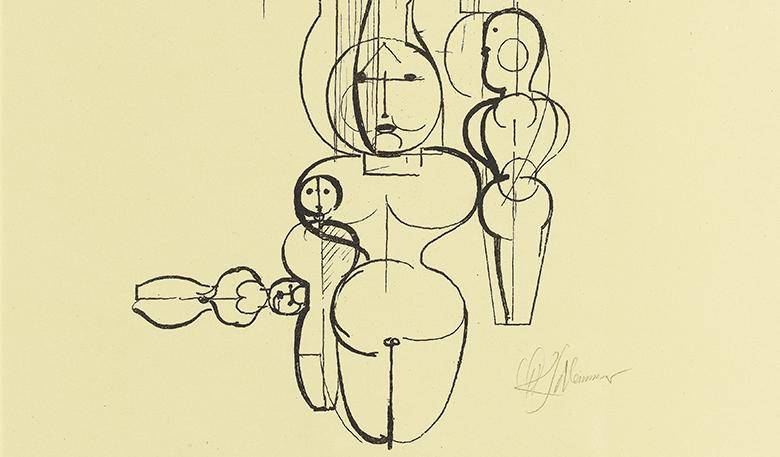 Print of overlapping geometric human figures depicted with think black outlines