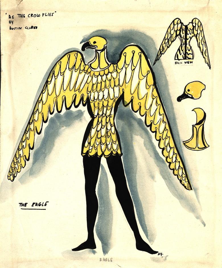 A watercolour ink and pencil drawing of a costume - the figure has the wings and head of a crow, and the legs of a human. Details of the wings and head are sketched to the side.