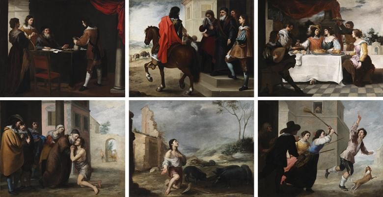 Collage of six paintings of the Prodigal Son by Murillo