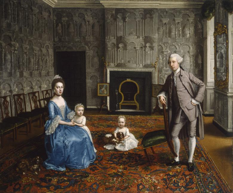 Painted portrait of a family in an interior