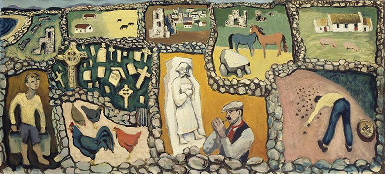 Stylised painting of a patchwork of fields, bordered by stone walls, and containing vignettes of people, animals and buildings.