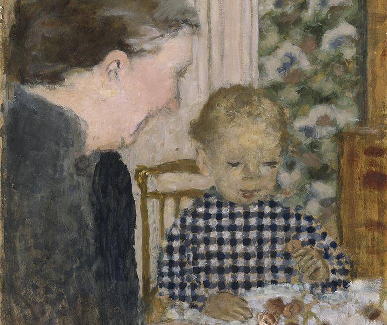 Oil painting showing young boy, wearing a black and white chequered top, seated at a table eating cherries. A woman is shown in profile at left, watching the child.