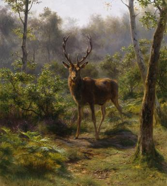 Oil painting of a stag in a forest