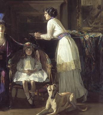 John Lavery (1856-1941), 'The Artist's Studio: Lady Hazel Lavery with her Daughter Alice and Stepdaughter Eileen', 1910-1913. © National Gallery of Ireland.