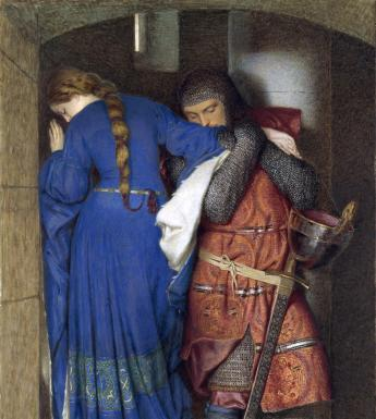 Frederic William Burton (1816-1900), 'Hellelil and Hildebrand, the Meeting on the Turret Stairs', 1864. © National Gallery of Ireland.