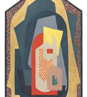 Abstract composition of shapes in a frame shaped like an altarpiece