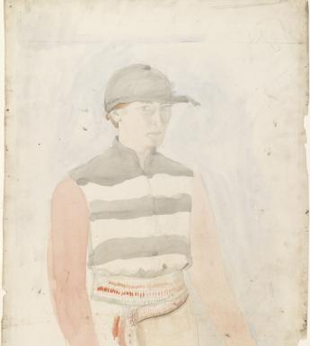 Margaret Clarke (1888–1961), 'Self-portrait as a jockey, wearing a crois'. © The artist's estate. Photograph © National Gallery of Ireland