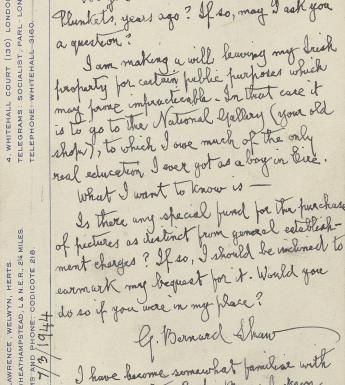 Postcard from George Bernard Shaw to Thomas Bodkin,  7 March 1944