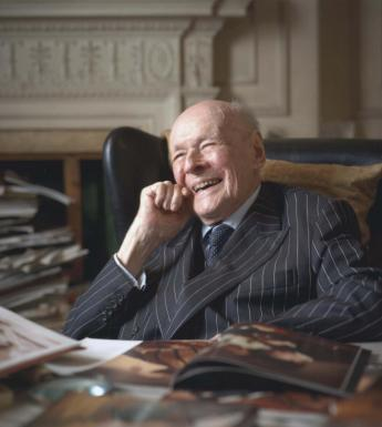 Sir Denis Mahon in his home in Cadogan Square, London, 2014