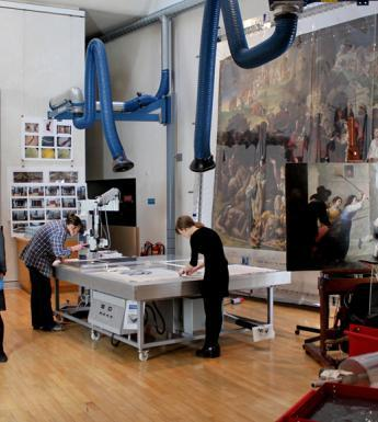 Working on various conservation projects in the studio. © National Gallery of Ireland