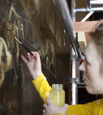 Conservation work on the Battle of the Boyne. © National Gallery of Ireland