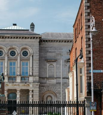 A view of the Merrion Square facade of National Gallery of Ireland