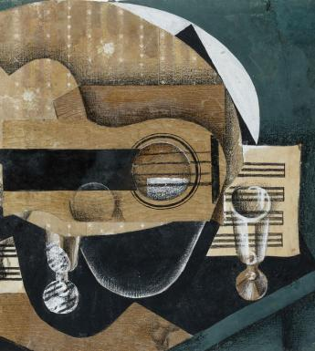 Juan Gris (1887-1927), 'A Guitar, Glasses and a Bottle', 1913. © National Gallery of Ireland