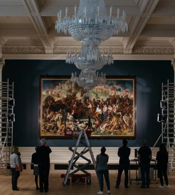 Rehanging the Marriage of Strongbow and Aoife in the Shaw Room. © National Gallery of Ireland.